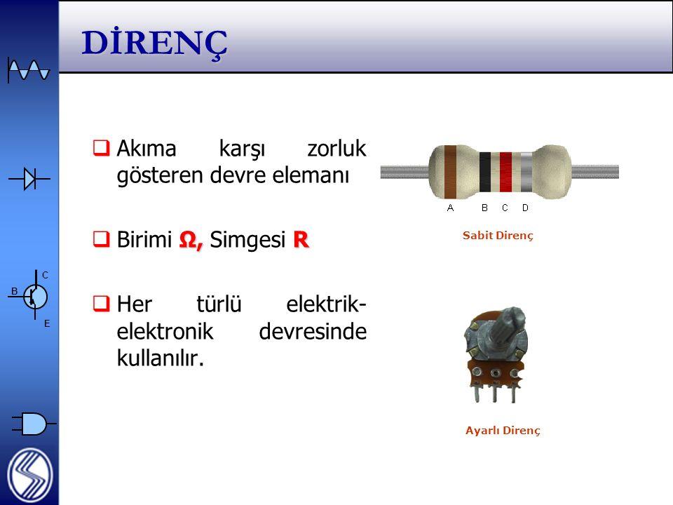 C E B DİRENÇ  Akıma karşı zorluk gösteren devre elemanı Ω, R  Birimi Ω, Simgesi R  Her türlü elektrik- elektronik devresinde kullanılır.