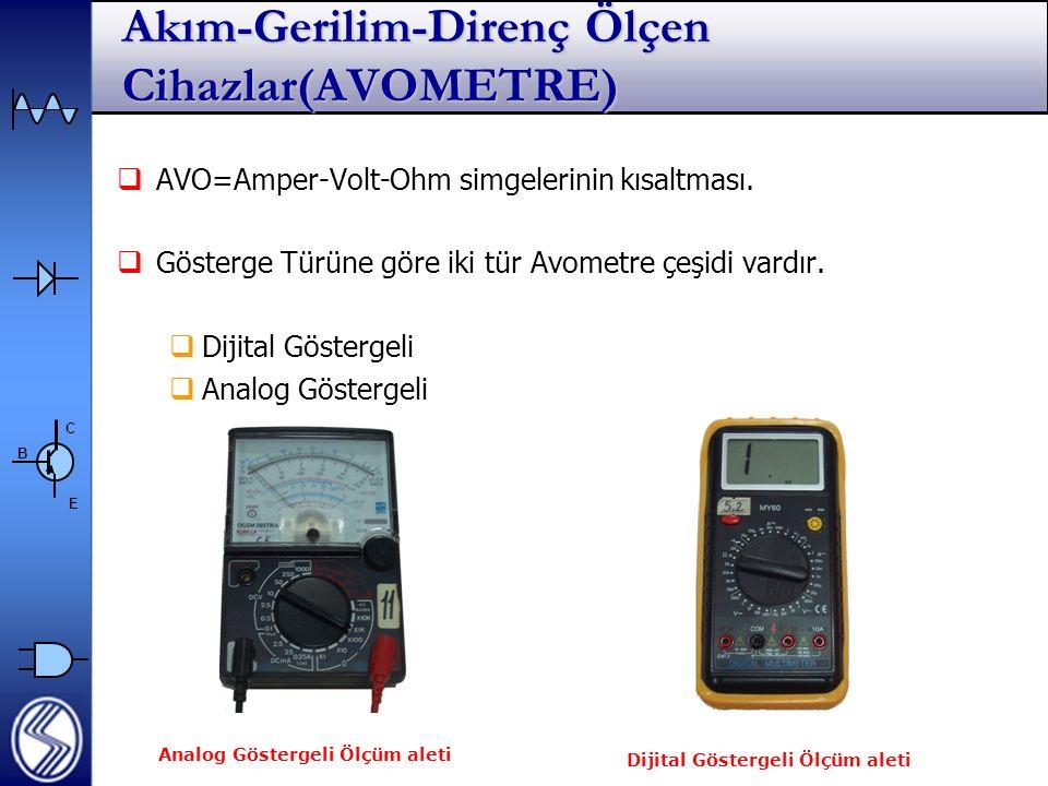 C E B Akım-Gerilim-Direnç Ölçen Cihazlar(AVOMETRE)  AVO=Amper-Volt-Ohm simgelerinin kısaltması.
