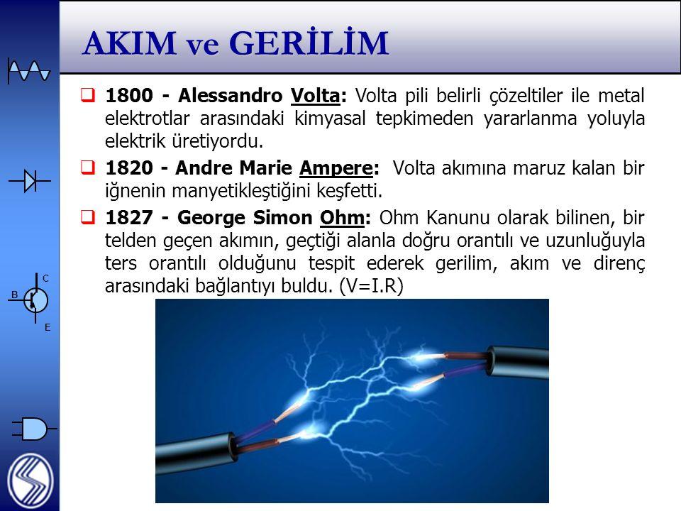 C E B AKIM ve GERİLİM  1800 - Alessandro Volta: Volta pili belirli çözeltiler ile metal elektrotlar arasındaki kimyasal tepkimeden yararlanma yoluyla elektrik üretiyordu.