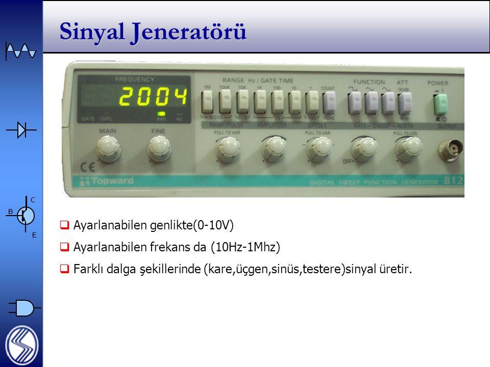 C E B Sinyal Jeneratörü  Ayarlanabilen genlikte(0-10V)  Ayarlanabilen frekans da (10Hz-1Mhz)  Farklı dalga şekillerinde (kare,üçgen,sinüs,testere)sinyal üretir.