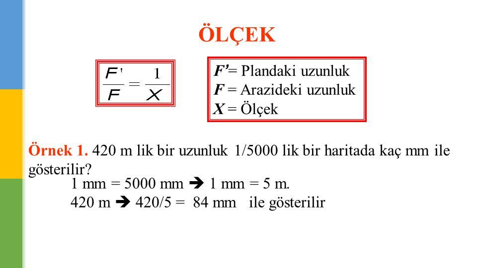 F'= Plandaki uzunluk F = Arazideki uzunluk X = Ölçek Örnek 1. 420 m lik bir uzunluk 1/5000 lik bir haritada kaç mm ile gösterilir? 1 mm = 5000 mm  1