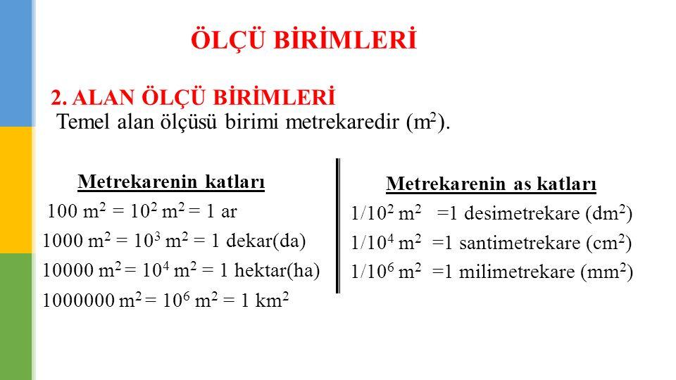 ÖLÇÜ BİRİMLERİ 2. ALAN ÖLÇÜ BİRİMLERİ Temel alan ölçüsü birimi metrekaredir (m 2 ). Metrekarenin katları 100 m 2 = 10 2 m 2 = 1 ar 1000 m 2 = 10 3 m 2