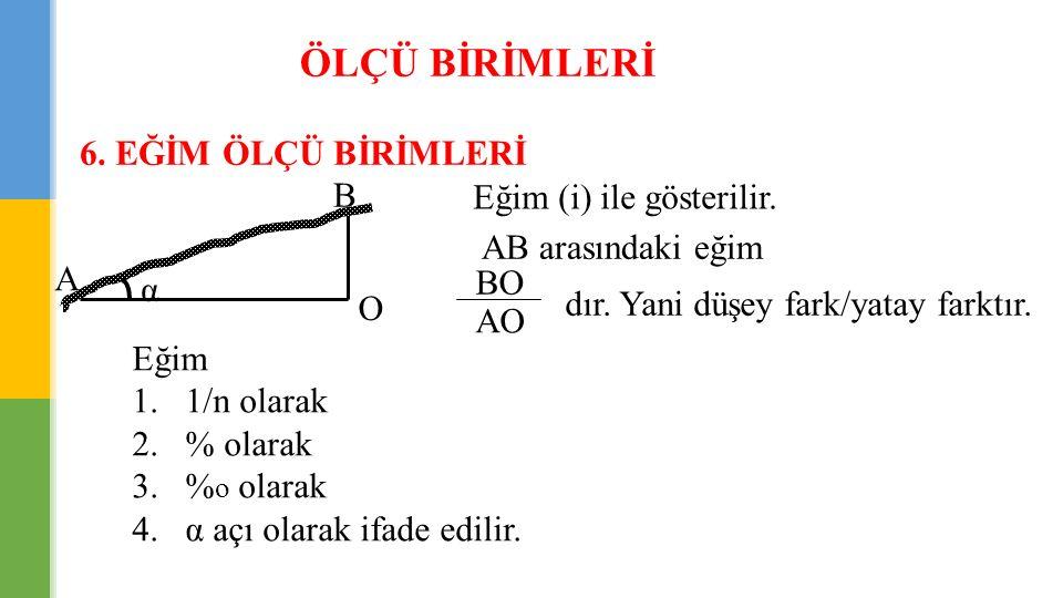 EĞİM ÖLÇÜ BİRİMLERİ ÖRNEK: Eğim ifade şekilleri; a) İ = tgα = h/L = 1.2 m / 600 m = 0.002 b) % olarak = 0.002  % 0.2 % o olarak = 0.002  % o 2 c) 1/n olarak; 0.002 =1/n  n=1/0.002 =1000/2 = 500 1/n = 1/500 d) Açı olarak; tgα = 0.002  α g = 0.1273 g α o = 0.1146 o