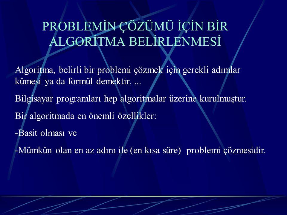 PROBLEMİN ÇÖZÜMÜ İÇİN BİR ALGORİTMA BELİRLENMESİ Algoritma, belirli bir problemi çözmek için gerekli adımlar kümesi ya da formül demektir.... Bilgisay