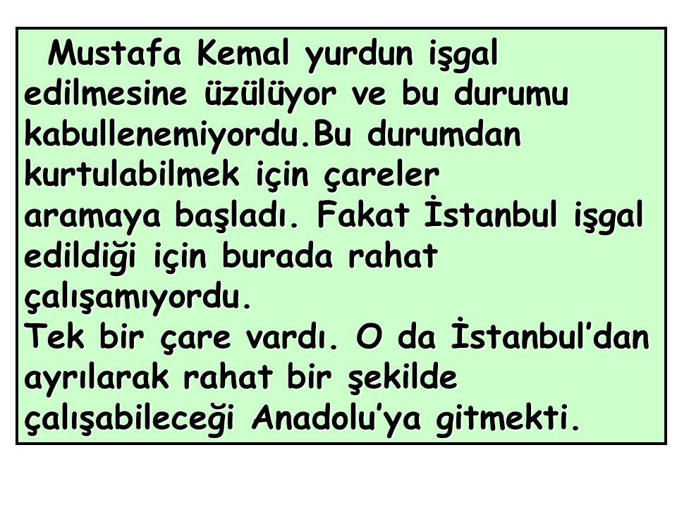 Mustafa Kemal yurdun işgal edilmesine üzülüyor ve bu durumu kabullenemiyordu.Bu durumdan kurtulabilmek için çareler aramaya başladı.