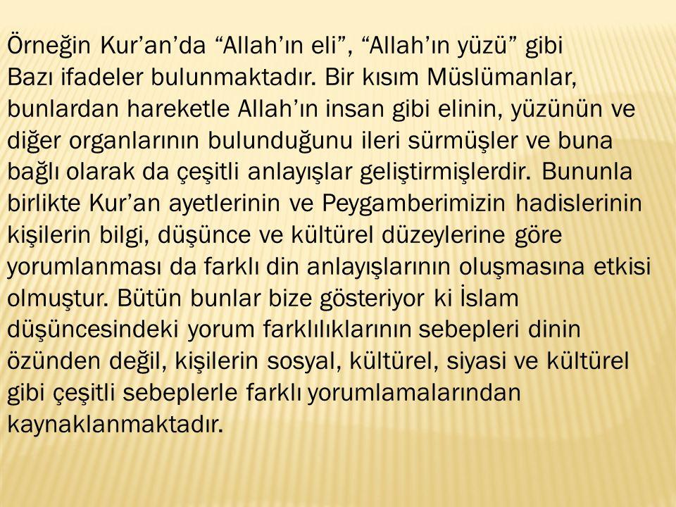 """Örneğin Kur'an'da """"Allah'ın eli"""", """"Allah'ın yüzü"""" gibi Bazı ifadeler bulunmaktadır. Bir kısım Müslümanlar, bunlardan hareketle Allah'ın insan gibi eli"""