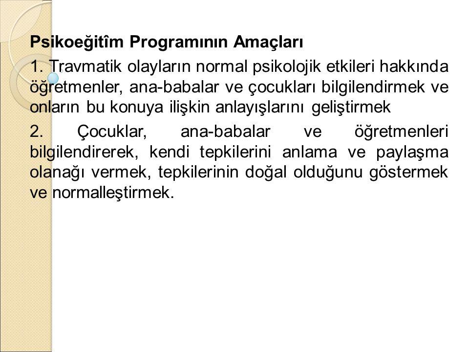 Psikoeğitîm Programının Amaçları 1.