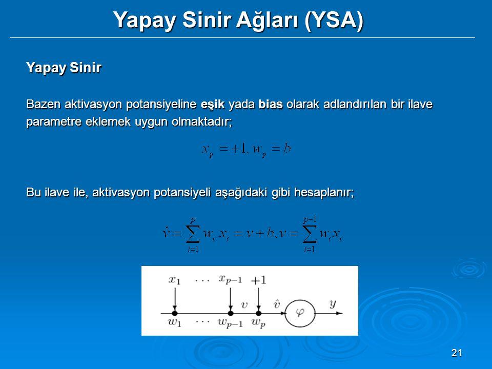 21 Yapay Sinir Ağları (YSA) Yapay Sinir Bazen aktivasyon potansiyeline eşik yada bias olarak adlandırılan bir ilave parametre eklemek uygun olmaktadır; Bu ilave ile, aktivasyon potansiyeli aşağıdaki gibi hesaplanır;