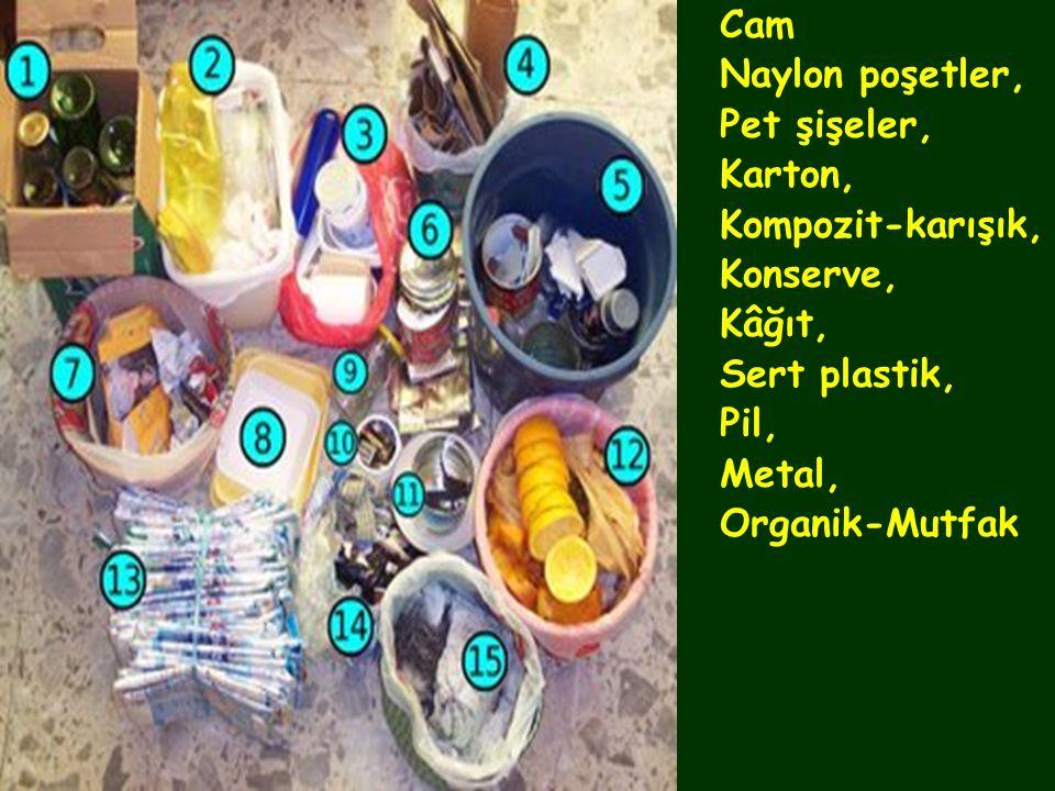 Cam Naylon poşetler, Pet şişeler, Karton, Kompozit-karışık, Konserve, Kâğıt, Sert plastik, Pil, Metal, Organik-Mutfak