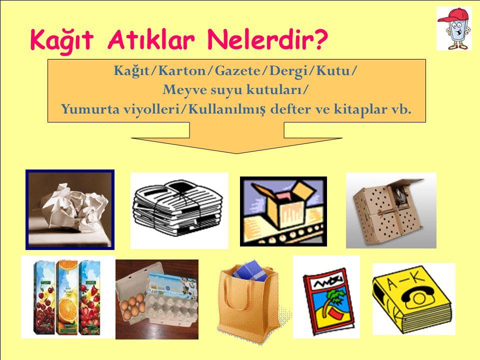 Ka ğ ıt/Karton/Gazete/Dergi/Kutu/ Meyve suyu kutuları/ Yumurta viyolleri/Kullanılmı ş defter ve kitaplar vb. Kağıt Atıklar Nelerdir?