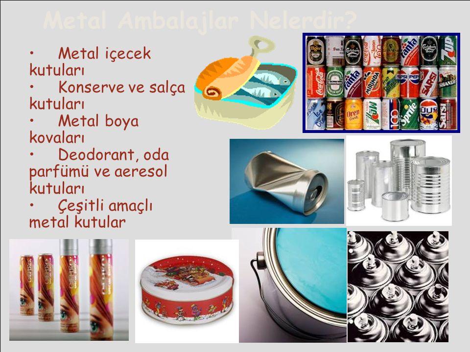 Metal Ambalajlar Nelerdir? Metal içecek kutuları Konserve ve salça kutuları Metal boya kovaları Deodorant, oda parfümü ve aeresol kutuları Çeşitli ama
