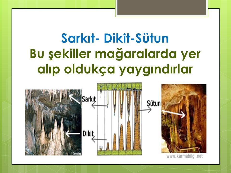 Sarkıt- Dikit-Sütun Bu şekiller mağaralarda yer alıp oldukça yaygındırlar