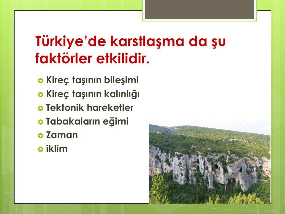 Türkiye'de karstlaşma da şu faktörler etkilidir.  Kireç taşının bileşimi  Kireç taşının kalınlığı  Tektonik hareketler  Tabakaların eğimi  Zaman
