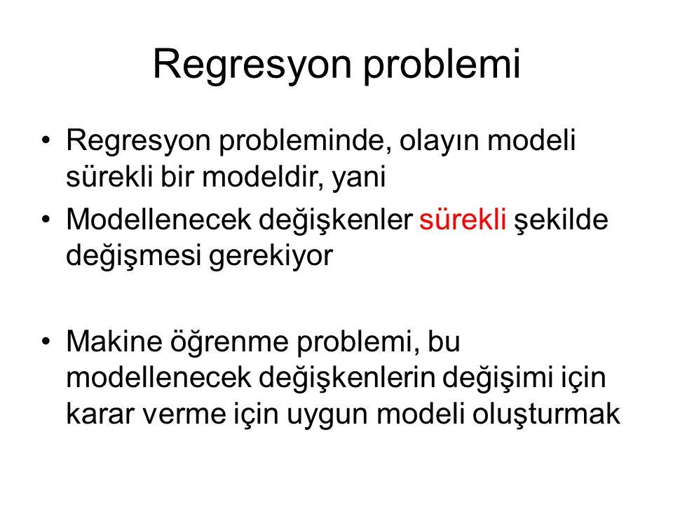 Regresyon problemi Regresyon probleminde, olayın modeli sürekli bir modeldir, yani Modellenecek değişkenler sürekli şekilde değişmesi gerekiyor Makine