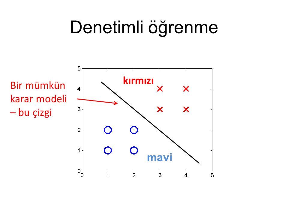 Denetimli öğrenme Bir mümkün karar modeli – bu çizgi kırmızı mavi