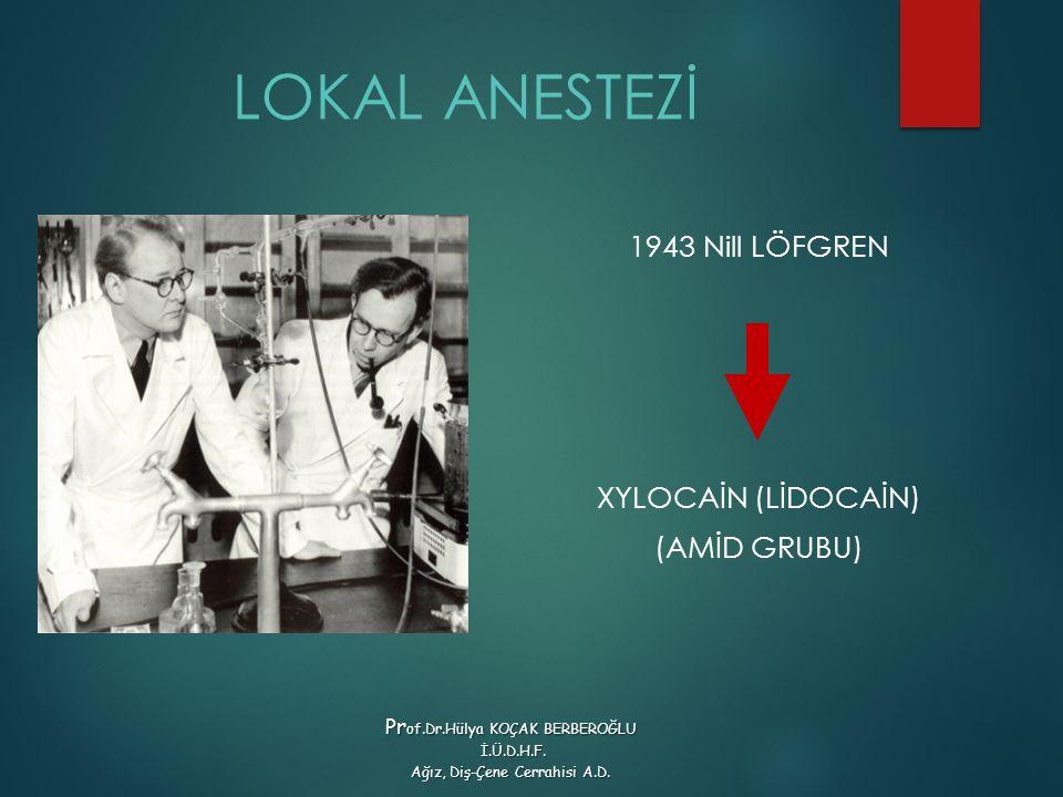 LOKAL ANESTEZİ 1943 Nill LÖFGREN XYLOCAİN (LİDOCAİN) (AMİD GRUBU) Pr of.Dr.Hülya KOÇAK BERBEROĞLU İ.Ü.D.H.F.