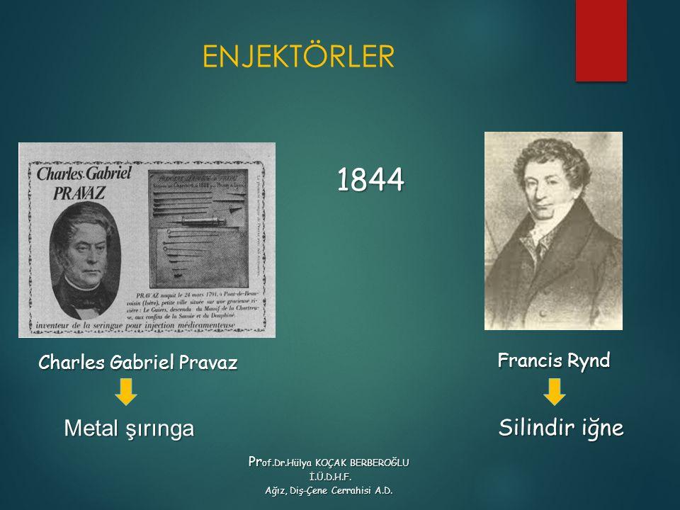 ENJEKTÖRLER Francis Rynd Francis Rynd 1844 Charles Gabriel Pravaz Pr of.Dr.Hülya KOÇAK BERBEROĞLU İ.Ü.D.H.F. İ.Ü.D.H.F. Ağız, Diş-Çene Cerrahisi A.D.
