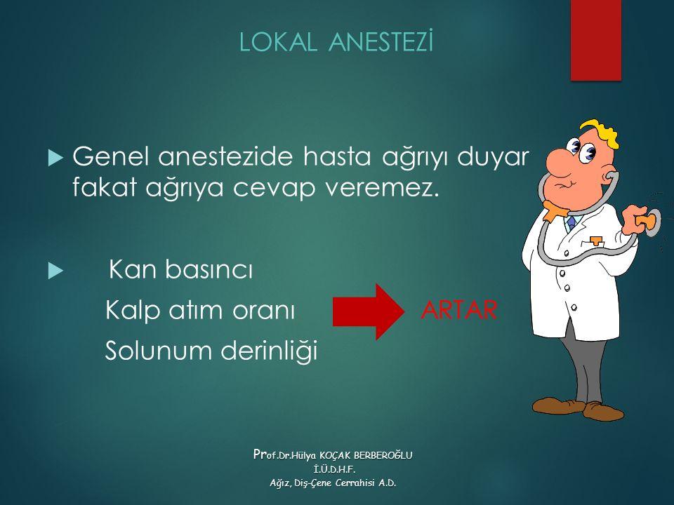 LOKAL ANESTEZİ  Genel anestezide hasta ağrıyı duyar fakat ağrıya cevap veremez.  Kan basıncı Kalp atım oranı ARTAR Solunum derinliği Pr of.Dr.Hülya