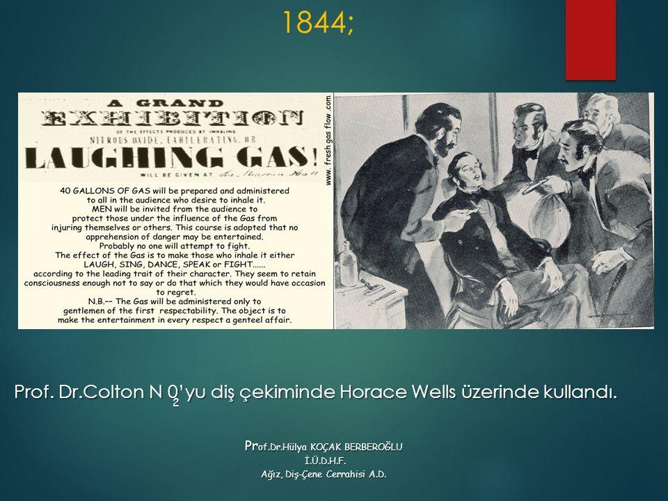 1844; Prof. Dr.Colton N 0'yu diş çekiminde Horace Wells üzerinde kullandı. 2 Pr of.Dr.Hülya KOÇAK BERBEROĞLU İ.Ü.D.H.F. İ.Ü.D.H.F. Ağız, Diş-Çene Cerr