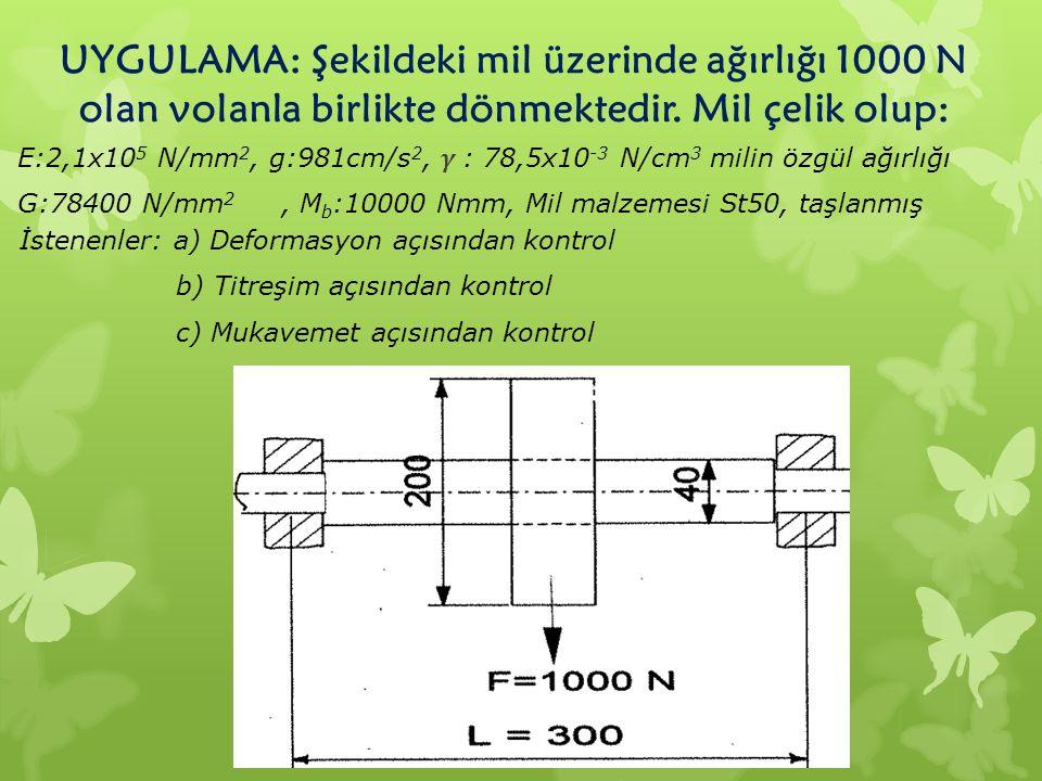 UYGULAMA: Şekildeki mil üzerinde ağırlığı 1000 N olan volanla birlikte dönmektedir. Mil çelik olup: İstenenler: a) Deformasyon açısından kontrol b) Ti