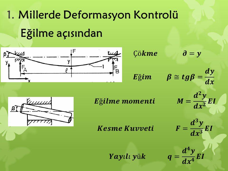 1.Millerde Deformasyon Kontrolü Eğilme açısından