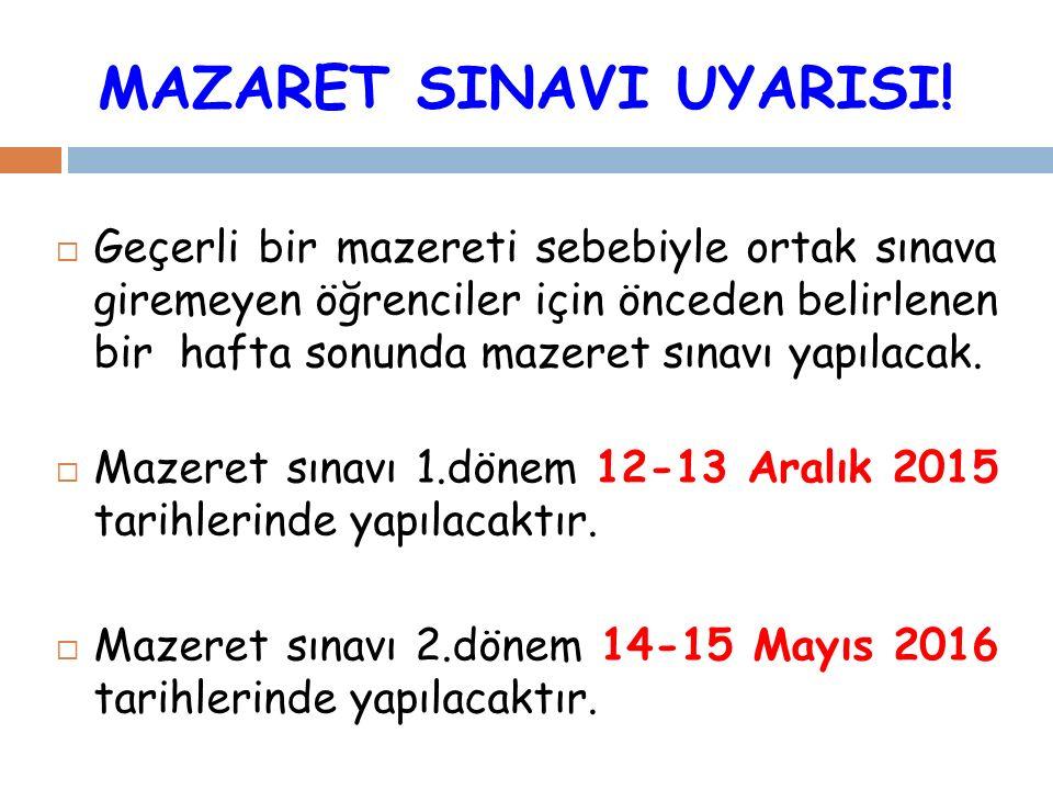 MAZARET SINAVI UYARISI.