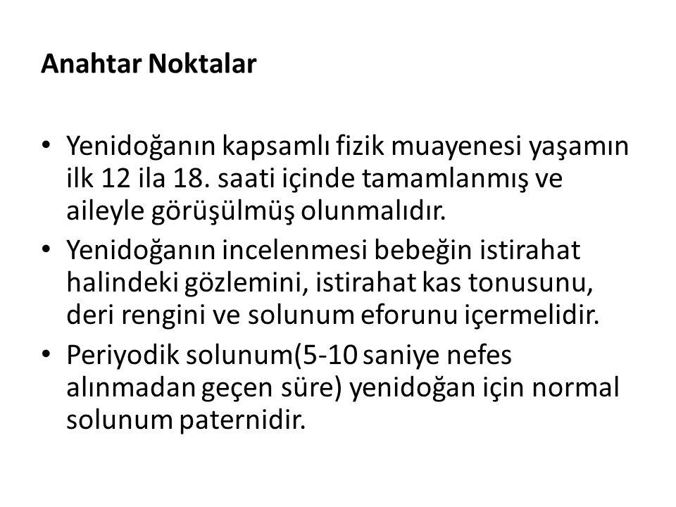 Anahtar Noktalar Yenidoğanın kapsamlı fizik muayenesi yaşamın ilk 12 ila 18. saati içinde tamamlanmış ve aileyle görüşülmüş olunmalıdır. Yenidoğanın i