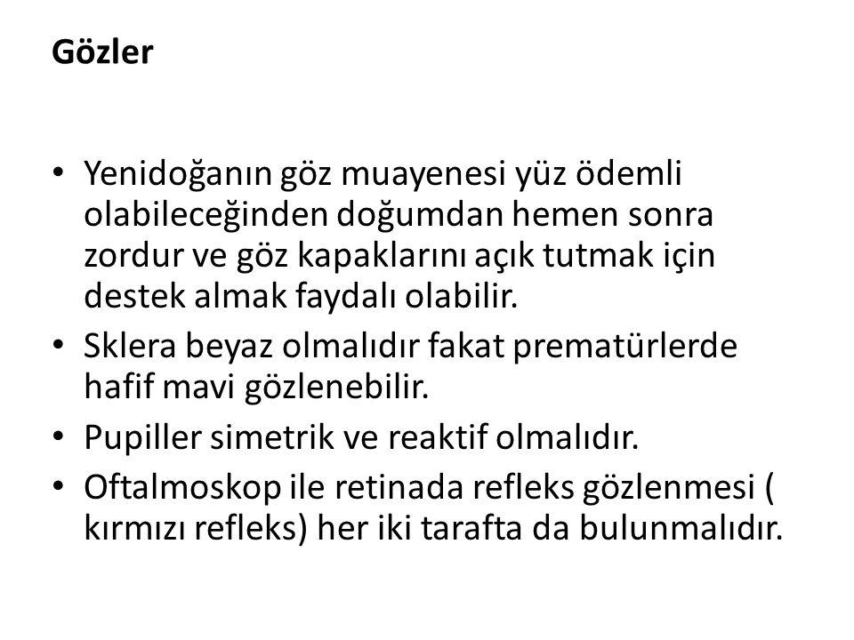 Gözler Yenidoğanın göz muayenesi yüz ödemli olabileceğinden doğumdan hemen sonra zordur ve göz kapaklarını açık tutmak için destek almak faydalı olabi