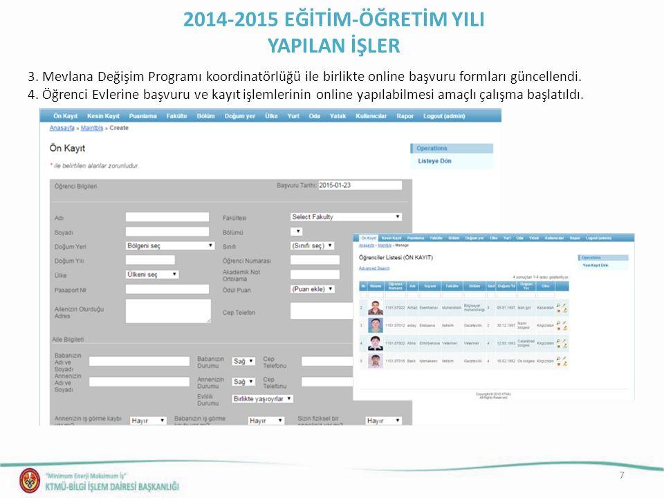 7 3. Mevlana Değişim Programı koordinatörlüğü ile birlikte online başvuru formları güncellendi. 4. Öğrenci Evlerine başvuru ve kayıt işlemlerinin onli