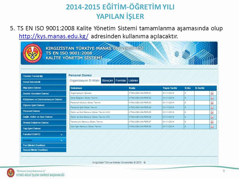 9 5. TS EN ISO 9001:2008 Kalite Yönetim Sistemi tamamlanma aşamasında olup http://kys.manas.edu.kg/ adresinden kullanıma açılacaktır. http://kys.manas