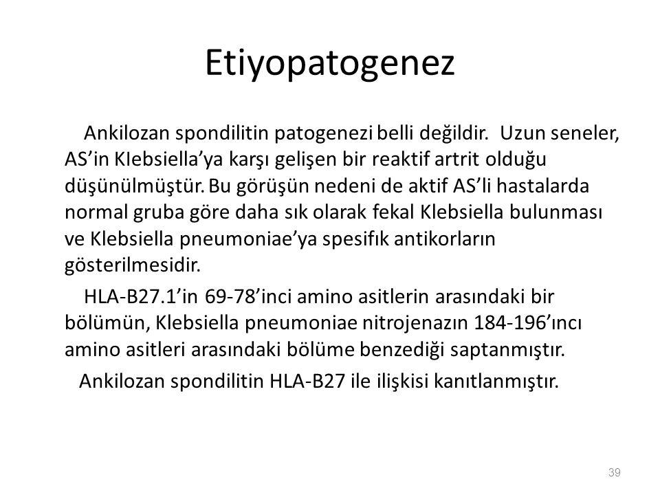 Etiyopatogenez Ankilozan spondilitin patogenezi belli değildir. Uzun seneler, AS'in KIebsiella'ya karşı gelişen bir reaktif artrit olduğu düşünülmüştü