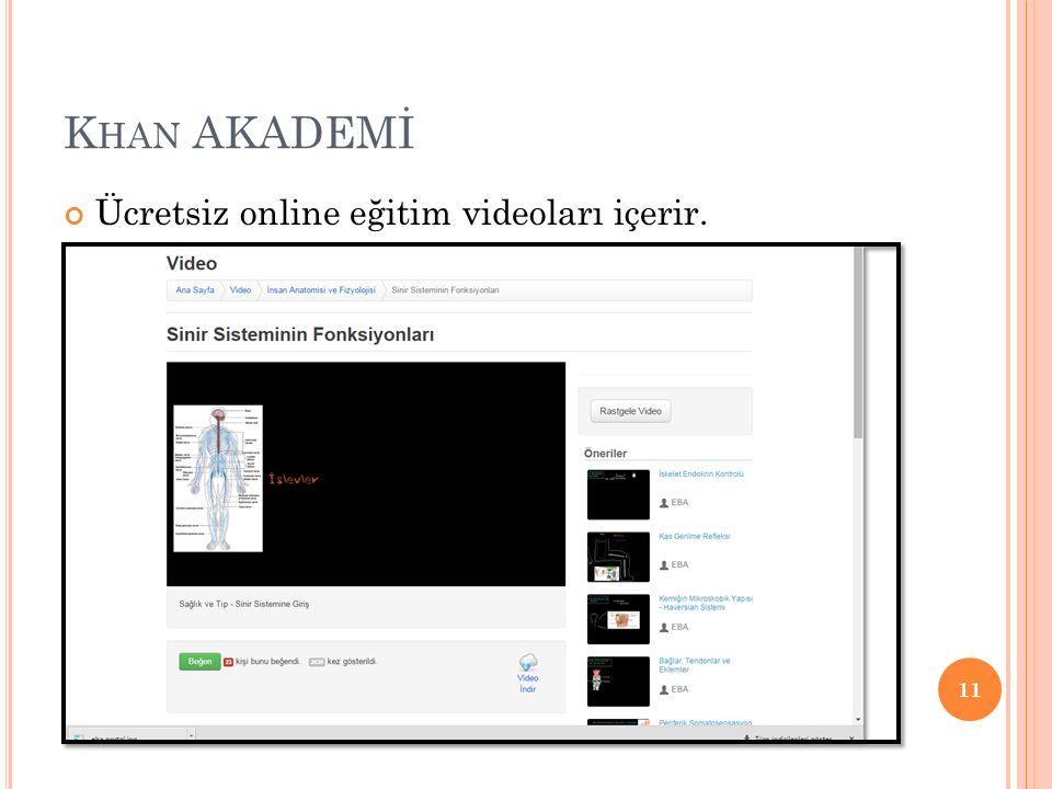 K HAN AKADEMİ Ücretsiz online eğitim videoları içerir. 11