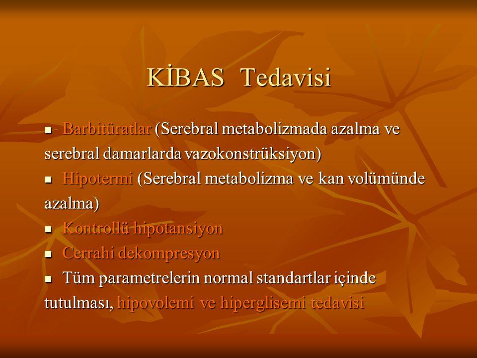 KİBAS Tedavisi Barbitüratlar (Serebral metabolizmada azalma ve Barbitüratlar (Serebral metabolizmada azalma ve serebral damarlarda vazokonstrüksiyon)