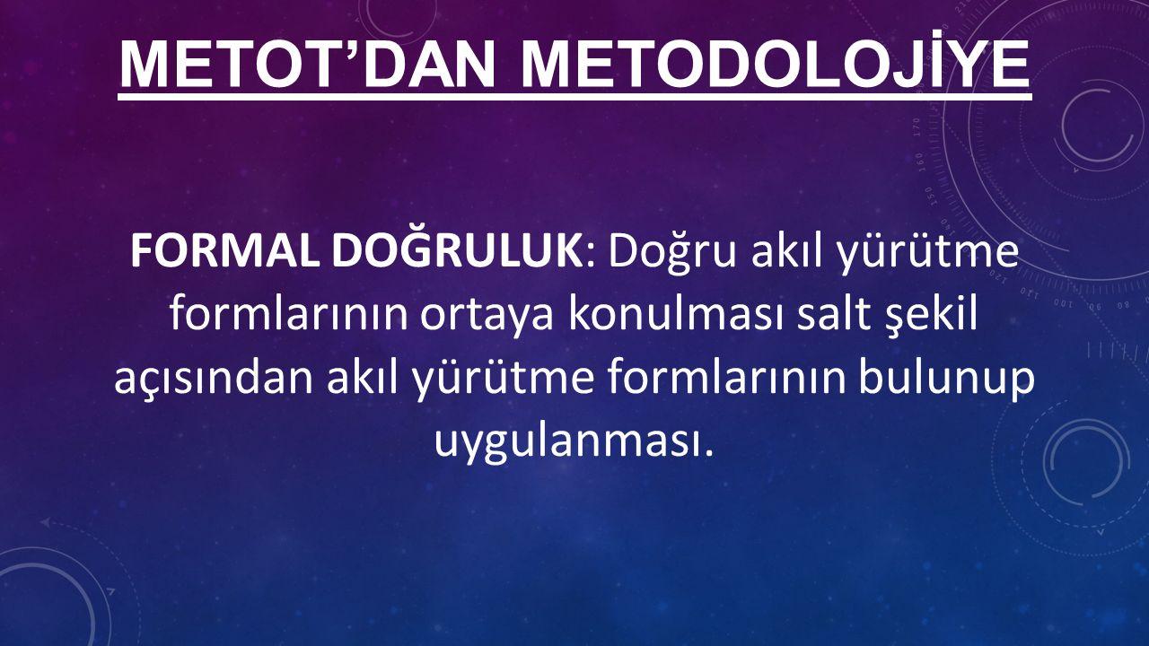METOT'DAN METODOLOJİYE FORMAL DOĞRULUK: Doğru akıl yürütme formlarının ortaya konulması salt şekil açısından akıl yürütme formlarının bulunup uygulanması.