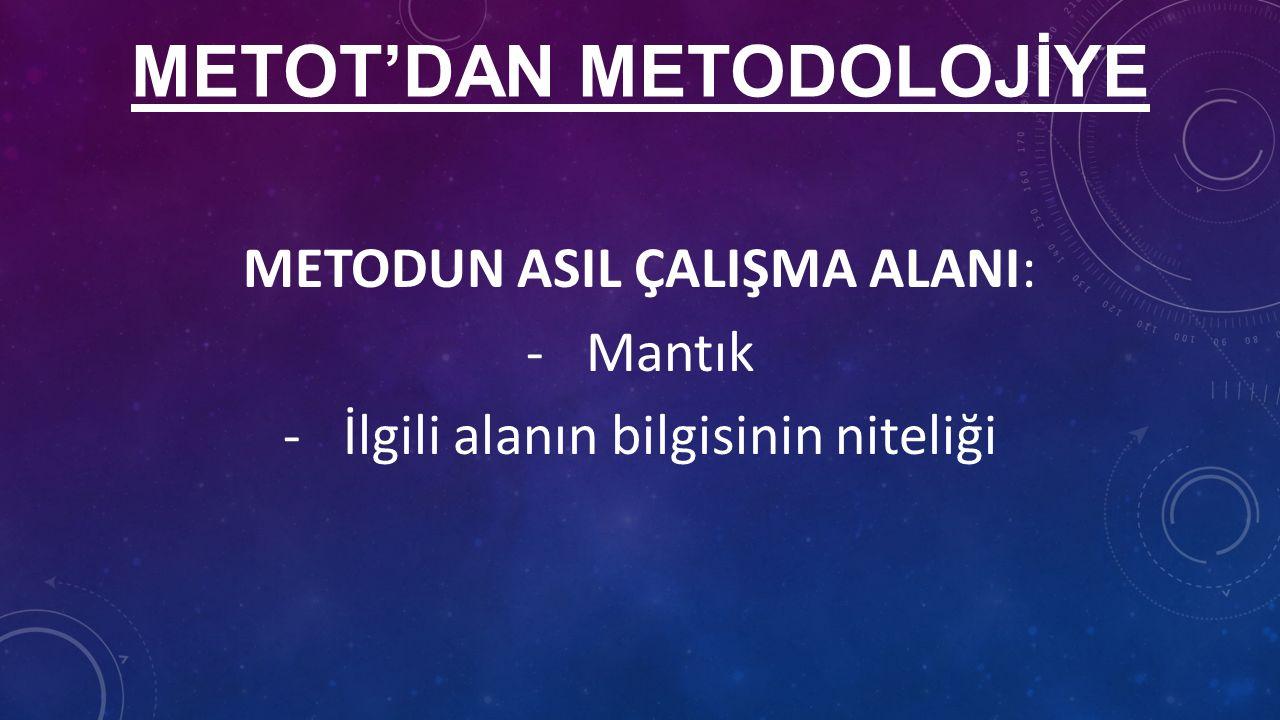METOT'DAN METODOLOJİYE METODUN ASIL ÇALIŞMA ALANI: -Mantık -İlgili alanın bilgisinin niteliği