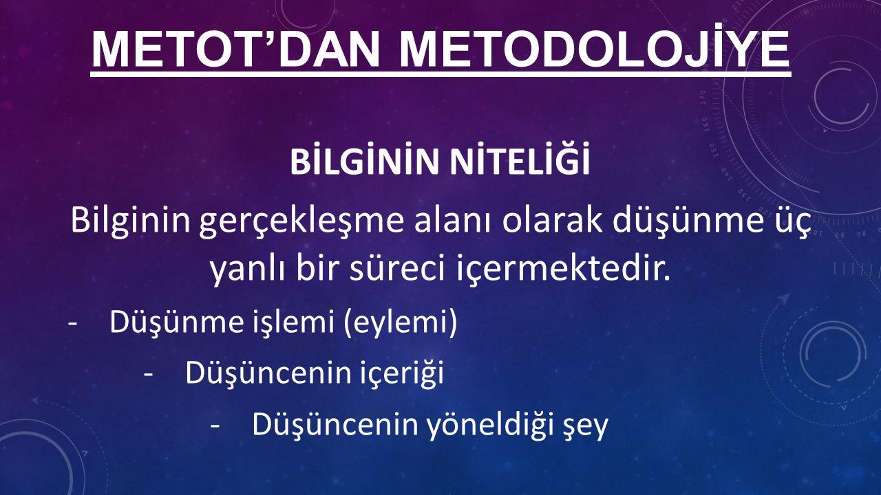 METOT'DAN METODOLOJİYE BİLGİNİN NİTELİĞİ Bilginin gerçekleşme alanı olarak düşünme üç yanlı bir süreci içermektedir.