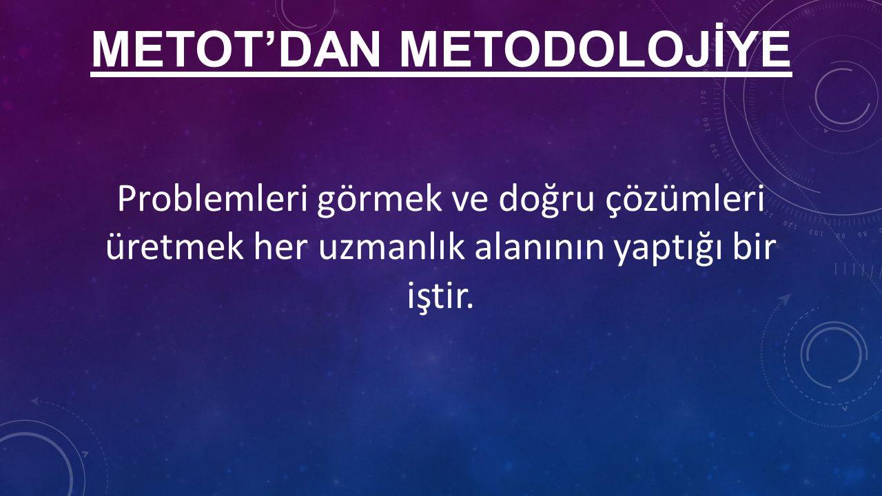 METOT'DAN METODOLOJİYE Problemleri görmek ve doğru çözümleri üretmek her uzmanlık alanının yaptığı bir iştir.