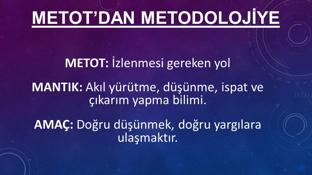 METOT'DAN METODOLOJİYE METOT: İzlenmesi gereken yol MANTIK: Akıl yürütme, düşünme, ispat ve çıkarım yapma bilimi.