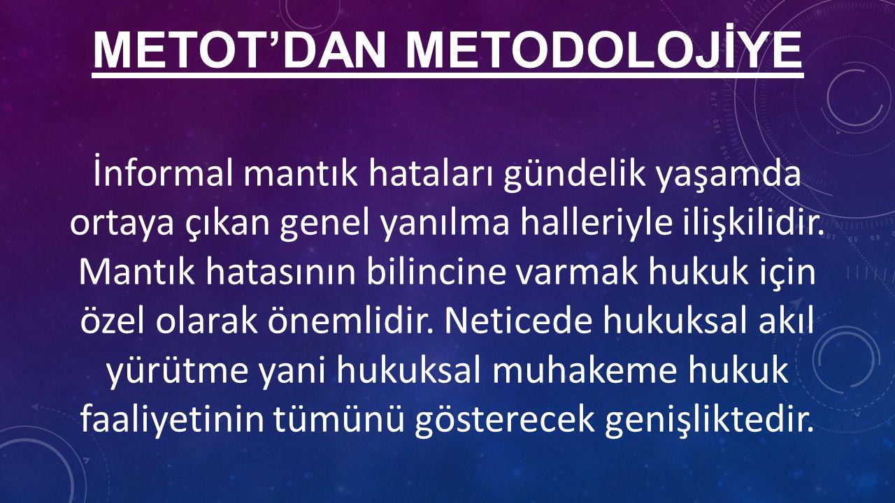 METOT'DAN METODOLOJİYE İnformal mantık hataları gündelik yaşamda ortaya çıkan genel yanılma halleriyle ilişkilidir.