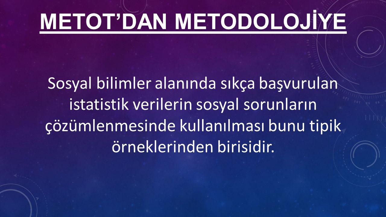 METOT'DAN METODOLOJİYE Sosyal bilimler alanında sıkça başvurulan istatistik verilerin sosyal sorunların çözümlenmesinde kullanılması bunu tipik örneklerinden birisidir.