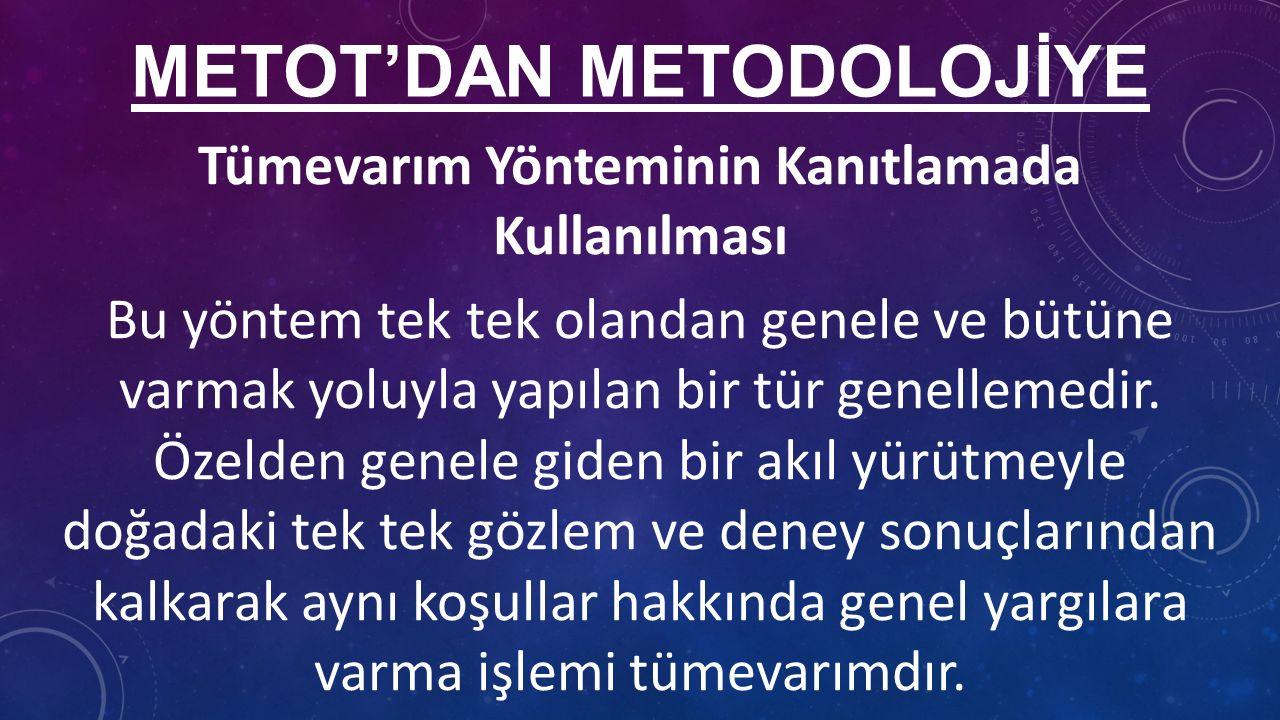 METOT'DAN METODOLOJİYE Tümevarım Yönteminin Kanıtlamada Kullanılması Bu yöntem tek tek olandan genele ve bütüne varmak yoluyla yapılan bir tür genellemedir.