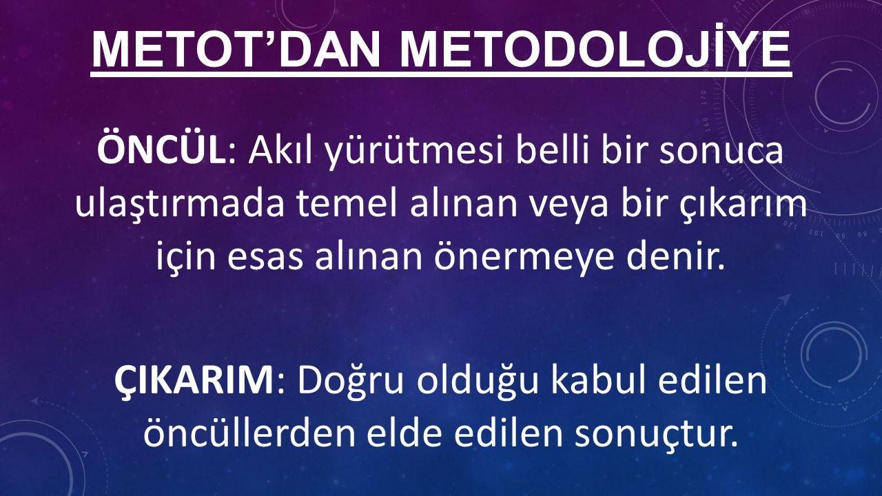 METOT'DAN METODOLOJİYE ÖNCÜL: Akıl yürütmesi belli bir sonuca ulaştırmada temel alınan veya bir çıkarım için esas alınan önermeye denir.