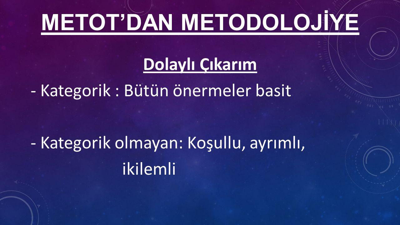METOT'DAN METODOLOJİYE Dolaylı Çıkarım - Kategorik : Bütün önermeler basit - Kategorik olmayan: Koşullu, ayrımlı, ikilemli