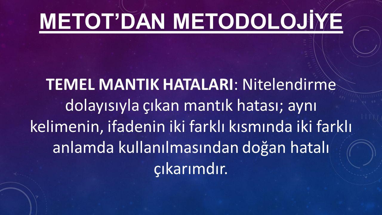 METOT'DAN METODOLOJİYE TEMEL MANTIK HATALARI: Nitelendirme dolayısıyla çıkan mantık hatası; aynı kelimenin, ifadenin iki farklı kısmında iki farklı anlamda kullanılmasından doğan hatalı çıkarımdır.