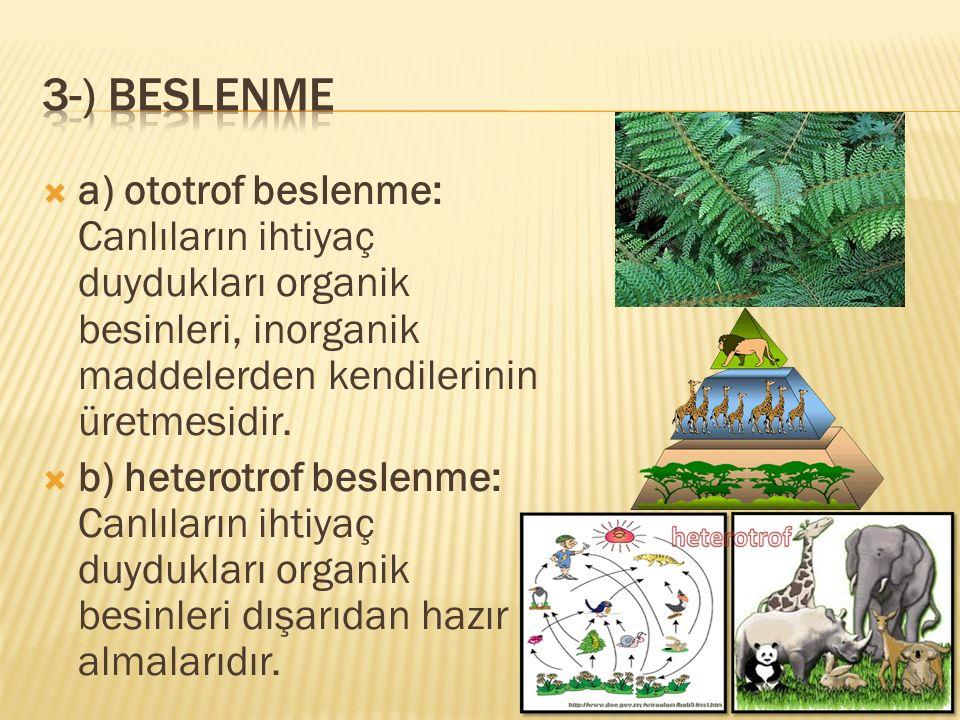  a) ototrof beslenme: Canlıların ihtiyaç duydukları organik besinleri, inorganik maddelerden kendilerinin üretmesidir.  b) heterotrof beslenme: Canl