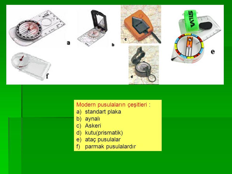 Modern pusulaların çeşitleri : a)standart plaka b)aynalı c)Askeri d)kutu(prismatik) e)ataç pusulalar f)parmak pusulalardır