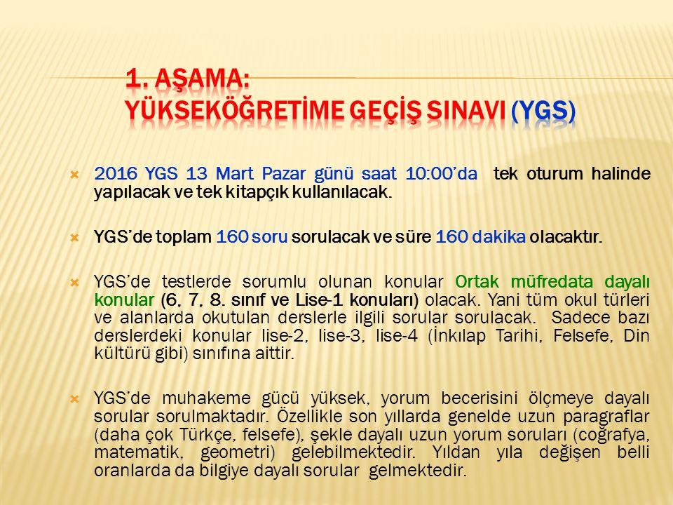  2016 YGS 13 Mart Pazar günü saat 10:00'da tek oturum halinde yapılacak ve tek kitapçık kullanılacak.