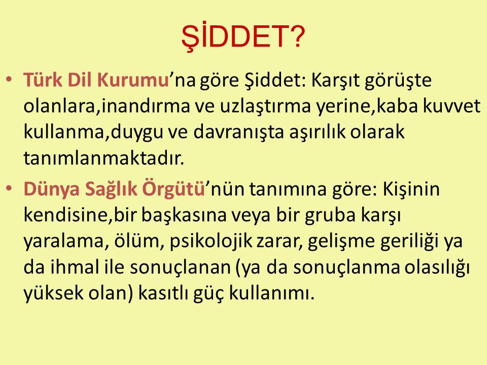 ŞİDDET? Türk Dil Kurumu'na göre Şiddet: Karşıt görüşte olanlara,inandırma ve uzlaştırma yerine,kaba kuvvet kullanma,duygu ve davranışta aşırılık olara