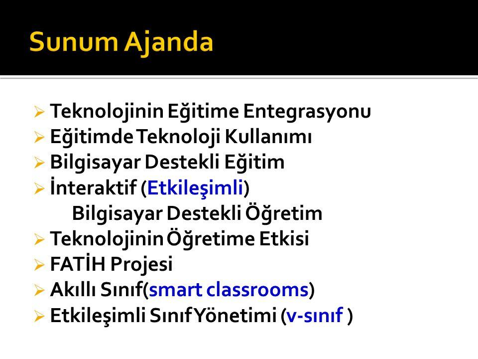 Teknolojinin Eğitime Entegrasyonu  Eğitimde Teknoloji Kullanımı  Bilgisayar Destekli Eğitim  İnteraktif (Etkileşimli) Bilgisayar Destekli Öğretim  Teknolojinin Öğretime Etkisi  FATİH Projesi  Akıllı Sınıf(smart classrooms)  Etkileşimli Sınıf Yönetimi (v-sınıf )