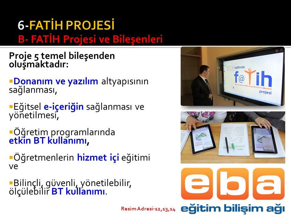 Proje 5 temel bileşenden oluşmaktadır:  Donanım ve yazılım altyapısının sağlanması,  Eğitsel e-içeriğin sağlanması ve yönetilmesi,  Öğretim program